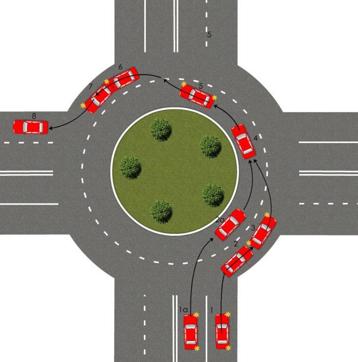 Разберем правила проезда кругового перекрестка